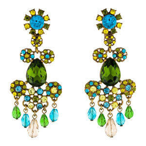 Oscar de la Renta Signed Multi Crystals Earrings